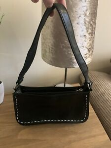 Vintage Black Faux Leather Mini Bag With Contrast Stitching Y2K