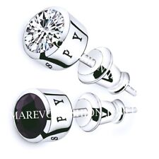 MEN STUD EARRINGS WHITE AND BLACK AAA CZ STUDS SILVER PLATED SET OF 2 PAIRS