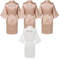 Women Satin Silk Wedding Bride Robe Bridesmaid Maid of Honor Gown Champagne