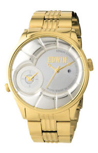 Edwin VINTAGED Men's Dual Time Watch, Stainless Steel Case with Stainless Steel