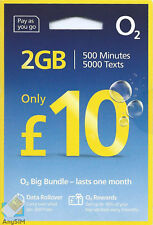 O2 Sim Card Pay As You Go £10 Bundle 3 in1 Micro Nano PAYG 2GB DATA ROLLOVER 02