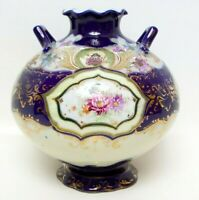 Antique Royal Nippon Porcelain Ball Vase Cobalt Blue Gold Scrolls Double Handles