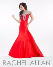 Rachel Allan Prima Donna 5833 Red Rhinestoned Pageant Gala Gown Dress sz 8