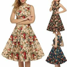 Women Vintage 1950s 60s Dress Rockabilly Retro Style Floral Swing Skater Dresses