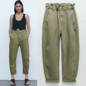 Zara Paperbag Mom Baggy Trousers Pants Jeans Khaki Green Size 6 Sold Out