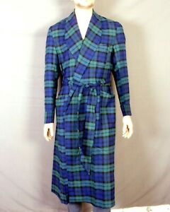 vtg 50s 60s NOS Regal Robes Frank & Meyer 100% Rayon Men's Flannel Robe Plaid M