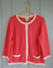 Talbots Womens XL Coral Ivory Cream 100% Cashmere Cardigan Sweater Career Work