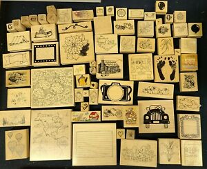 LARGE MIXED LOT OF 71 RANDOM RUBBER STAMPS *CHECK MY OTHER LISTINGS*