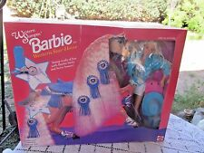 1990 WESTERN STAMPIN BARBIE w WESTERN STAR HORSE BLUE RIBBON  11020 NIB