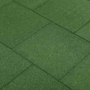 vidaXL 6x Fall Protection Tiles Rubber Green Playground Safety Floor Mat