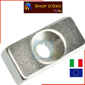 5 Pezzi Lotto Magnete Neodimio 20x10x5mm Foro 4mm Permanente NdFeB N50