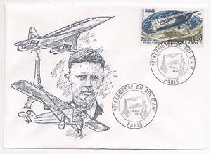 1977 FRANCE Flight Cover CONCORDE & LINDBERGH Illustration 27th AIR FAIR SG2194