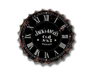 30cm Bourbon Jack Whisky Cap Vintage Retro Wall Display Metal Bottle Top Clock