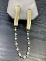"""1950's Vintage Gold Tone Sweater White Pearl Beaded Chain Clip Scarf 8"""" Long"""