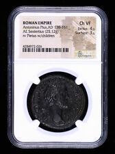 ANTONINUS PIUS SESTERTIUS 138 - 161 AD ANCIENT ROMAN COIN PIETAS CHILDREN NGC...
