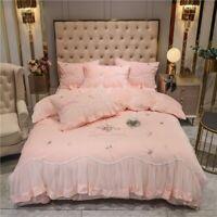 Silk Velvet Flower Princess Bedding Set Lace Duvet Cover Bedspread/Bed Skirt