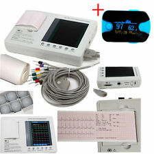 12-lead Digital 3-channel Electrocardiograph ECG/EKG Machine interpretation+SPO2
