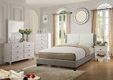 Bed Frame Headboard White Grey Faux Leather Queen Full And King Sizes Bed Casual