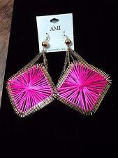 AMI Hot Pink Nylon & Gold Tone Shape Chandelier Fashion Earrings, DIVA Lead Free