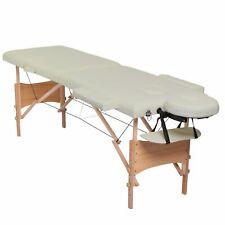 Table de massage mobile a 2 zones (cadre stable en bois), beige