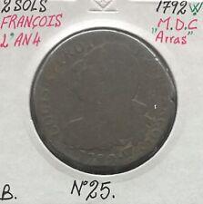 2 SOLS - FRANCOIS - LOUIS XVI - 1792W (ARRAS) - Pièce de Monnaie en MDC // B