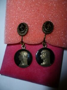Jean Paul Gaultier Earrings 100% Authentic - black enamel & bronze