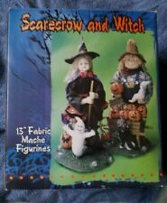 "13"" Fabric Mache Witch and Scarecrow Combination Figurine Set Halloween Special"