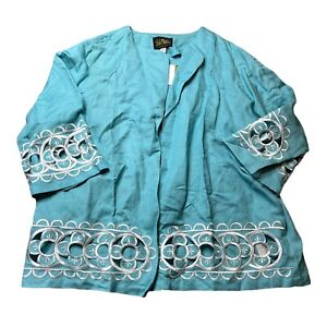 Bob Mackie Womens Open Front Cardigan Top Blue White Linen Casual Ladies 1X New