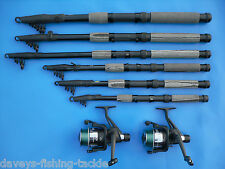 2 LINEAEFFE 10ft CARBON TELESCOPIC RODS+RD60 REELS+LINE SEA SPINNING FISHING