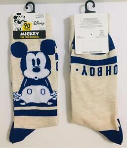 Men's Disney Mickey Mouse Oh Boy Novelty Beige & Blue Crew Socks