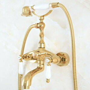 Polished Gold Wall Mounted Clawfoot Bath Tub Faucet Hand Shower Mixer Tap Qna813