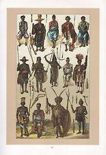 VINTAGE FASHION COSTUME PRINT ~ AFRICA ~ SENEGAMBIA GUINEA COURT ABYSSINIA GALLA