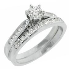 WOMENS DIAMOND ENGAGEMENT RING WEDDING BAND BRIDAL SET ROUND CUT 14K WHITE GOLD