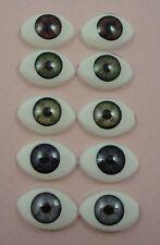 Lot de 5 paires de yeux 14mm ovales acrylique de poupée ancienne moderne reborn