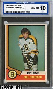 1974 O-PEE-CHEE OPC Hockey #200 Phil Esposito Bruins ISA 10 GEM MINT