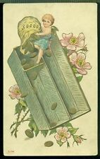 Sweet Little Blond Cherub Empties Bag of Gold Coins into Box Roses Postcard