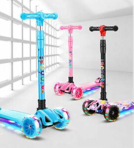 Kids Kick Push Scooter LED Light Up 3 4 Wheel Folding Adjustable Boy Girl 3-12yr