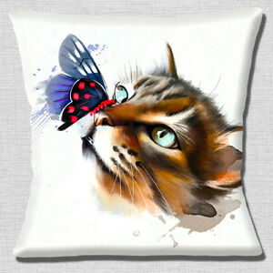 """Cat and Butterfly Painting 16""""x16"""" 40cm Cushion Cover Artistic Modern White"""