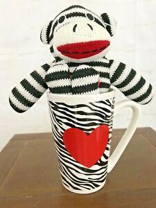 Sock Monkey In Coffee Cup Mug with Heart on cup Dan Dee Collectors Choice