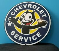 FELIX CAT CHEVROLET PORCELAIN GAS AUTO MOTOR VINTAGE STYLE TRUCKS SERVICE SIGN
