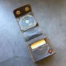 """MV Exposure Meter by Metrovick in original leather button down case - 2"""" square"""