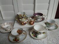 Lot of 6.Tea Cup & Saucer sets. 1 Creamer & Sugar Set Fruit Design. Used.