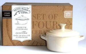 Set of 4 ceramic mini cocottes 10cm diam.