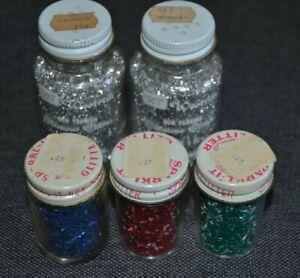 5 Jars Vtg Glitter Silver - Red - Green - Blue Glass Bottles MCM each NOS UNUSED