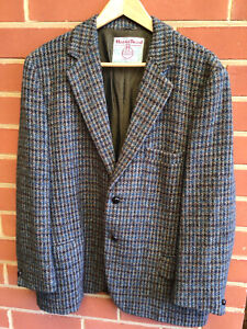 Vintage Harris tweed wool Blazer Jacket Coat size 40 S M-L brown blue Australia