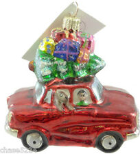 "Christopher Radko ""Holiday Reunion"" Christmas Tree Glass Ornament Red Car 2001"