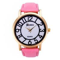 Casual Women's Date Quartz Stainless Steel Leather Band Analog Wrist Watch