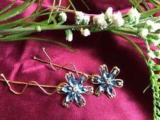 Wedding Bobby Pin Rhinestone Crystal Hair Clip Hairpin Jeweled Flower Blue NEW
