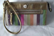 COACH Poppy Legacy Multi*color Stripe Sequins Ziparound Organizer Wallet RARE