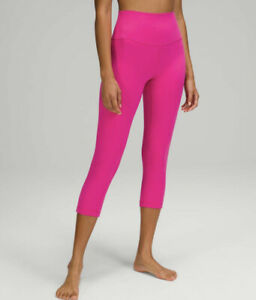 """LATEST RELEASE LULULEMON NWT ALIGN CROP 21"""" SONIC PINK~SIZE 10~FREE USPS SHIP"""